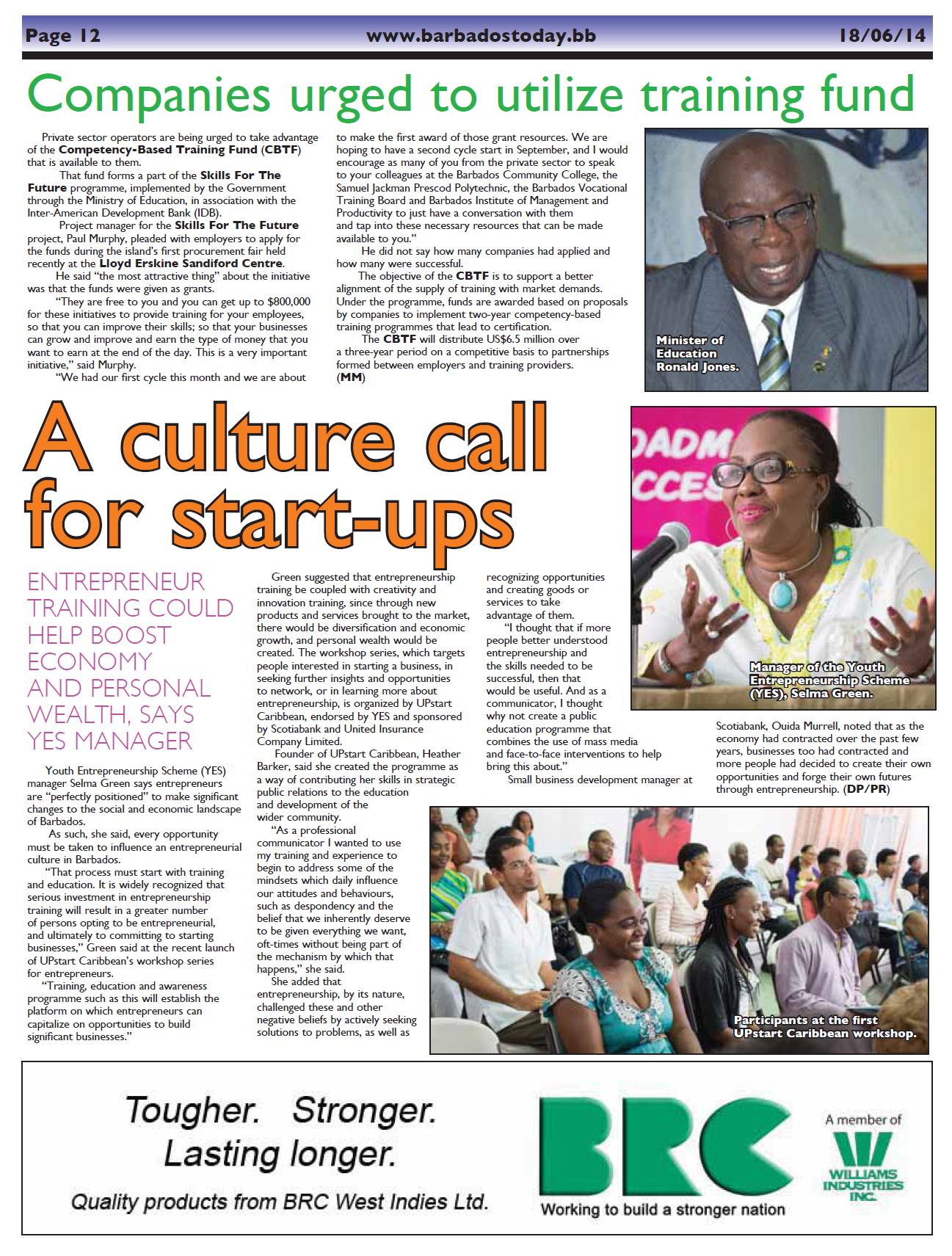 A Culture Call for Start ups (Barbados Today) – June 18, 2014